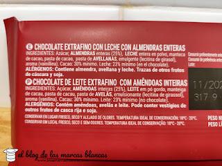 Estos son los ingredientes del chocolate con leche y almendras enteras Hacendado de Mercadona en el blog de las marcas blancas.