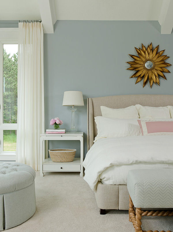 bedroom with Benjamin Moore Blue Springs walls