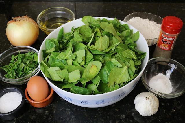 Ingredientes para buñuelos de espinacas