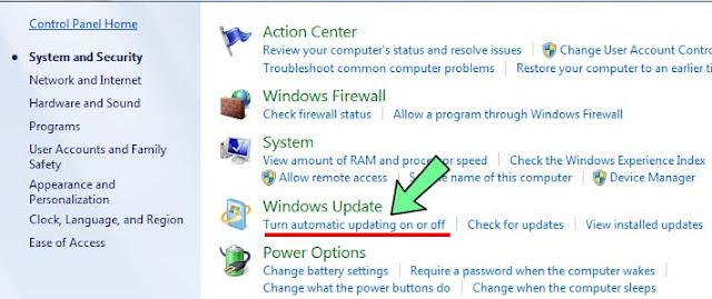 Cara mematikan auto update windows 7 laptop dan pc