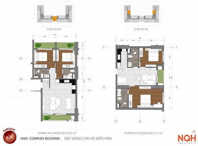 Mặt bằng căn hộ 72m - Anland Nam Cường