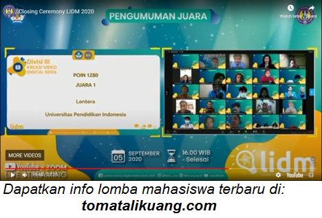 juara lidm lomba inovasi digital mahasiswa tahun 2020 divisi i ii iii iv tomatalikuang.com