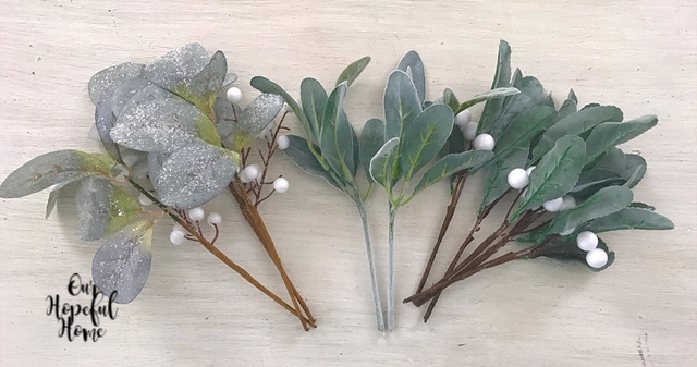 faux eucalyptus lambs ear frosted leaves white berry picks