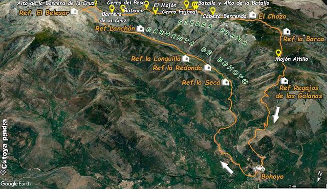 Mapa de la ruta por la Garganta de Bohoyo y la Sierra Plana en Gredos.