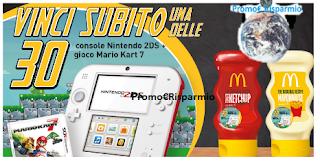Logo Con Develey e McDonald's vinci 30 console Nintendo con gioco Mario Kart 7