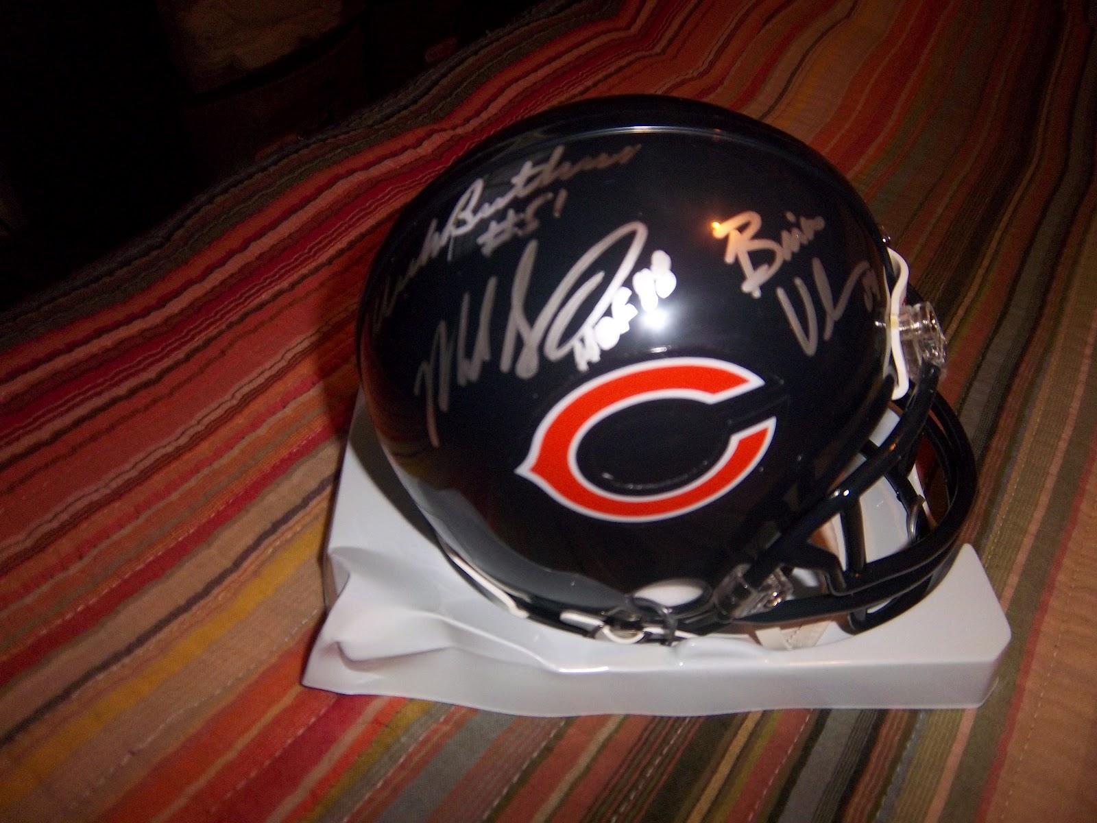 88873f58d06 Awesome Autographs: Dick Butkus, Mike Singletary, Brian Urlacher  Autographed Mini Helmet