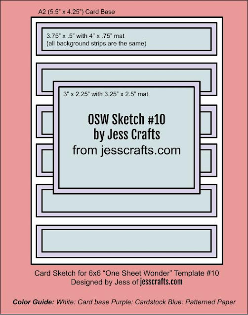 Card Sketch for One Sheet Wonder Template #10 by Jess Crafts