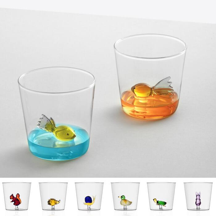 Bicchiere colorati con animaletti