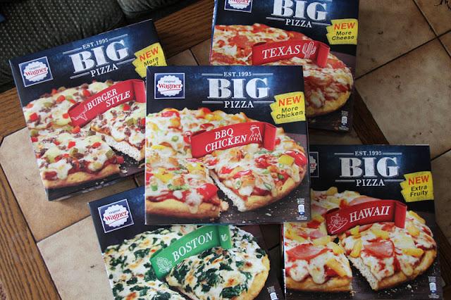 Erstes Testpaket aus fünf verschiedenen Sorten Original Wagner Big Pizza