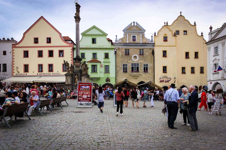 Cesky Krumlov town square Svornosti Square and the Plague Column