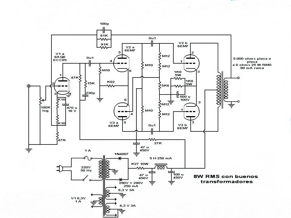 Informacion Electronica Amplificador De 8w Rms Con 6em7