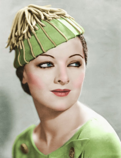 eVintage Myrna Loy Cheddar puffs Thanksgiving recipe photo Myrna Loy in green and gold hat