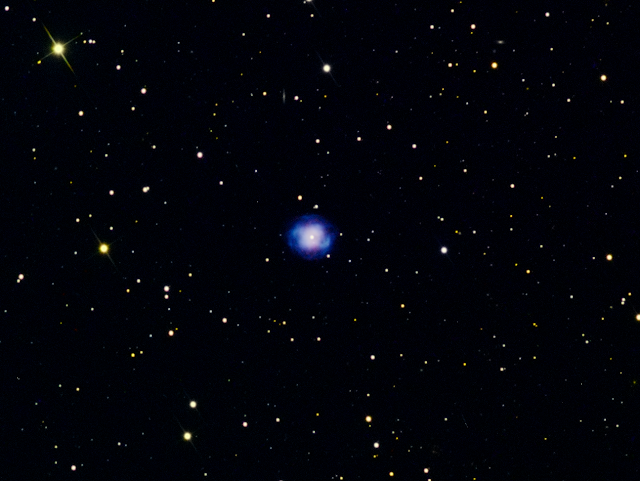 NGC 4361, Planetary Nebula in Corvus zoomed-in imaged at 300 sec LRGB (Lum. 1x1, RGB 2x2)  Image by Muir Evenden - Insight Observatory.