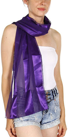 Purple Satin Chiffon Scarves