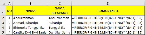 Cara memisahkan nama belakang dengan rumus excel 3