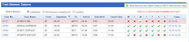 एक रूट की रेल सूची (Train List on a Route)