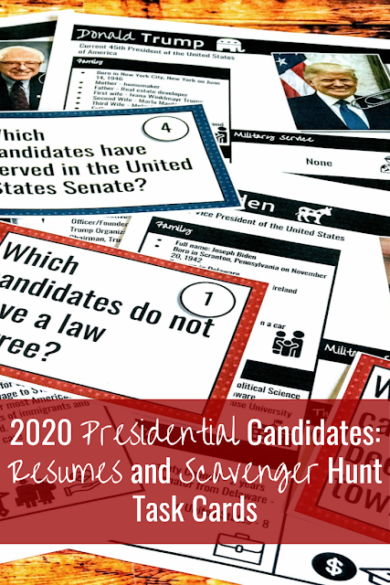 2020 Presidential Candidates: Resumes and Scavenger Hunt Task Cards More about this Pin Engaging Them All Engaging Them All Saved to My Work on Teachers Pay Teachers now 2020 Presidential Candidates: Resumes and Scavenger Hunt Task Cards #usgovernment #usgovernmentactivities #socialstudies #middleschoolsocialstudies #election2020 #primaries2020