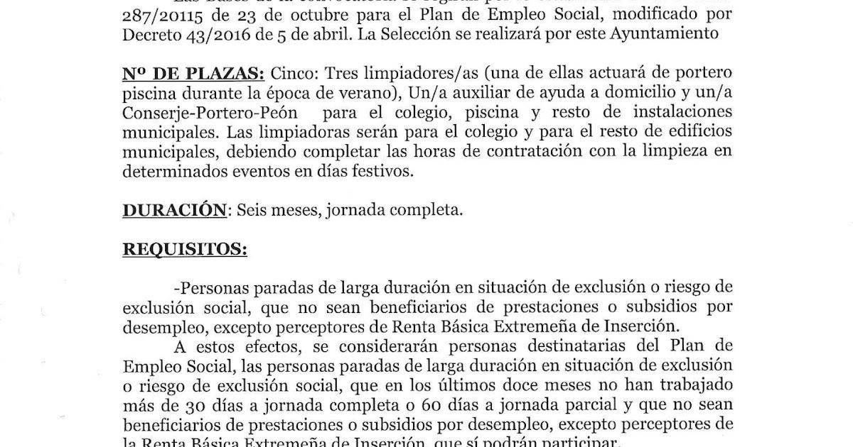 BASES PARA CUBRIR 5 PUESTOS DE TRABAJO (3 LIMPIADORAS, 1 AUXILIAR ...