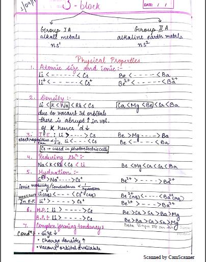रसायन विज्ञान चैप्टरवाइज नोट्स (S - Block) : JEE and NEET परीक्षा हेतु पीडीएफ पुस्तक | Chemistry Chapterwise Notes (S - Block) : For JEE and NEET Exam PDF Book