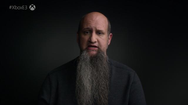 Xbox Microsoft E3 2019 Project Scarlett team developer long big beard facial hair man