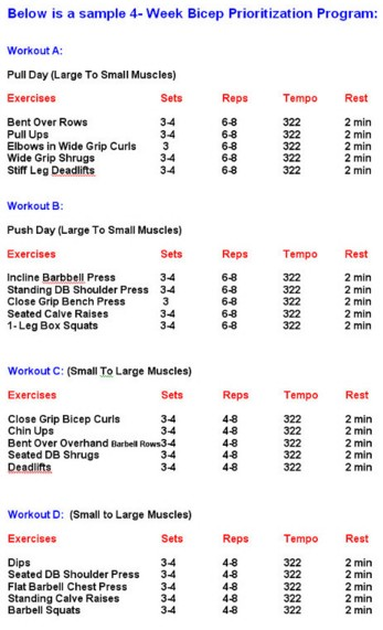 Bodybuilding Workout Schedule