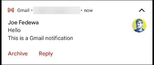 الخيارات الافتراضية في إشعار Gmail.