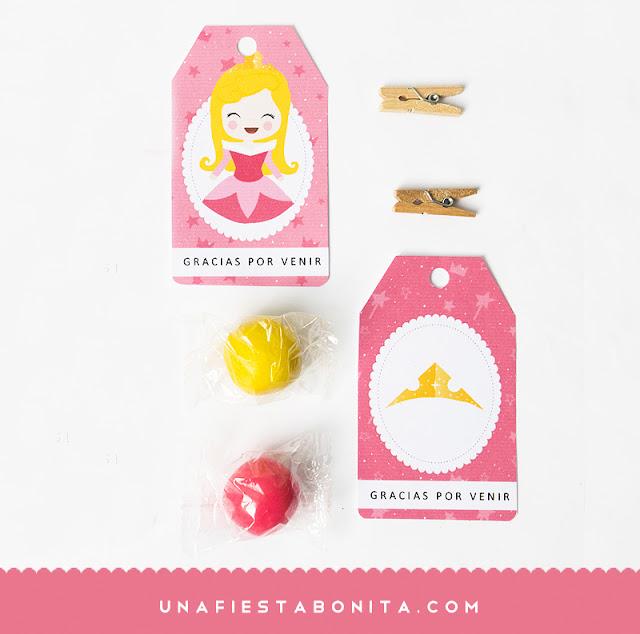 imprimible princesa aurora etiquetas