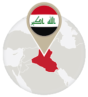 Iraqi flag and map