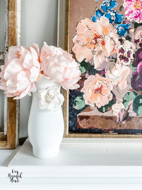DIY white 3-D floral vase faux pink peony