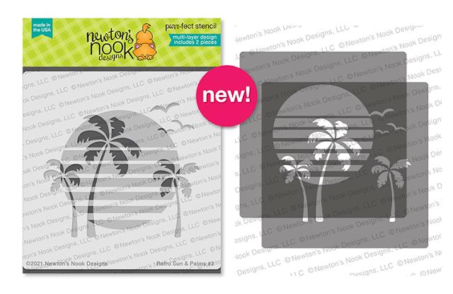 Retro Sun & Palms Stencil Set by Newton's Nook Designs #newtonsnook