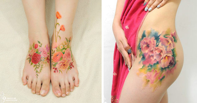 Sexy Hip & Foot Flower Watercolor Tattoos