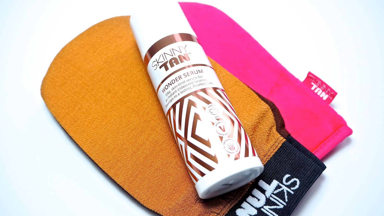 Skinny Tan Wonder Serum, Exfoliating Mitt and Dual Sided Tanning Mitt