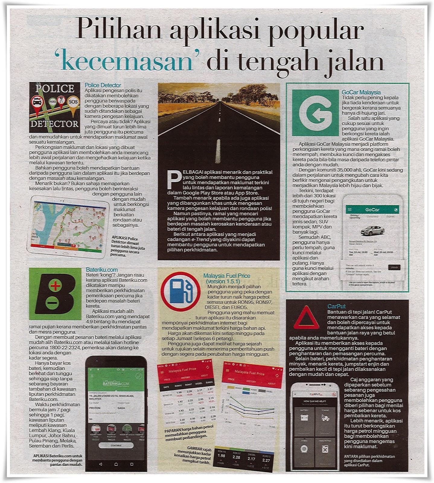 Pilihan aplikasi popular 'kecemasan' di tengah jalan