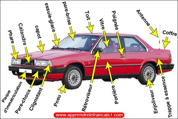 اسماء اجزاء السيارة الخارجية بالفرنسية