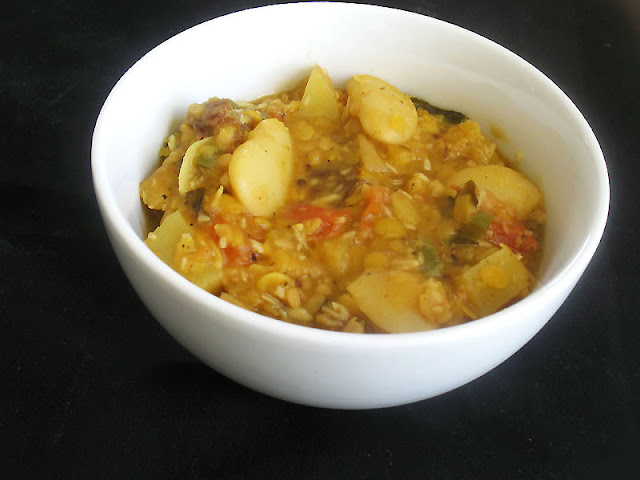 toor dal and lima bean sambar