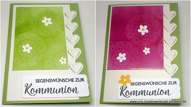Kommunionkarten mit Geistertechnik Ornamenten Stampin' Up! www.eris-kreativwerkstatt.blogspot.de