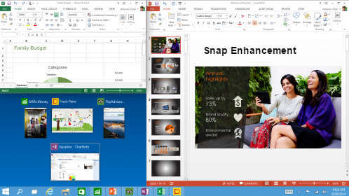 Snap enhancements in WIndows 10