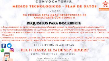 CONVOCATORIA APOYOS MEDIOS TECNOLOGICOS - PLAN DE DATOS 1-2021