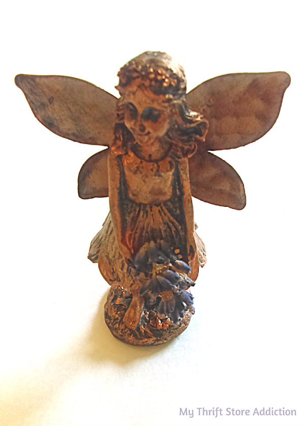 Detour to the Lavender Fairy and Scented Miniature Garden mythriftstoreaddiction.blogspot.com Copper colored lavender flower fairy