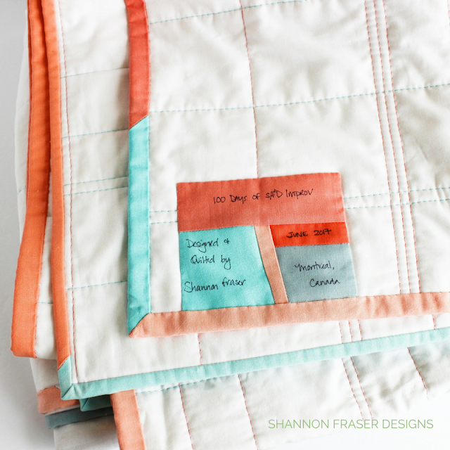 Custom Handmade Quilt Label | Modern Improv Quilt | Shannon Fraser Designs | Modern Quilting | Solids Quilt | Kona Cotton | Colorful
