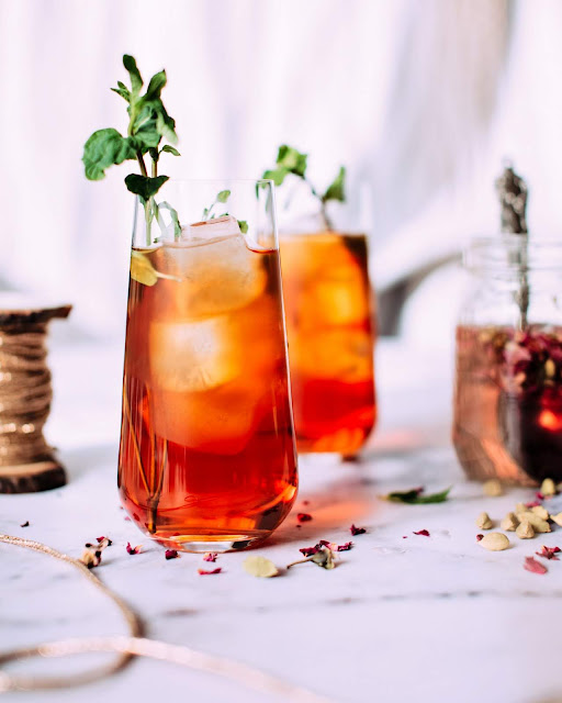 Iced Tea with Rose Syrup | Photo by Jennifer Pallian via Unsplash