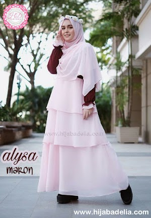 Harga Promo 1 Set Fashion Muslimah (Dress Dan Khimar) Alysa Maron