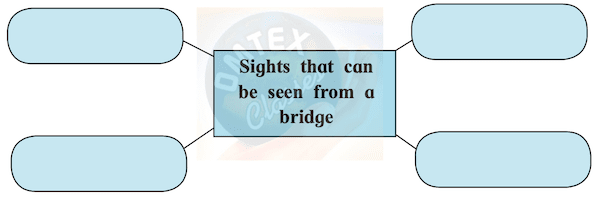 You might have visited a bridge. Complete the web describing the sights you could see from the bridge.
