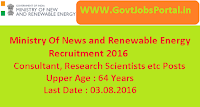 Ministry Of News and Renewable Energy Recruitment 2016