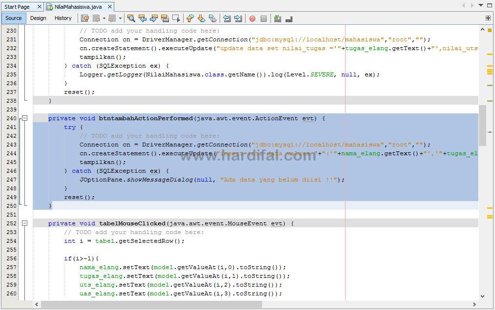 memberikan source code pada tombol tambah
