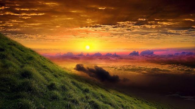 Landschap met ondergaande zon
