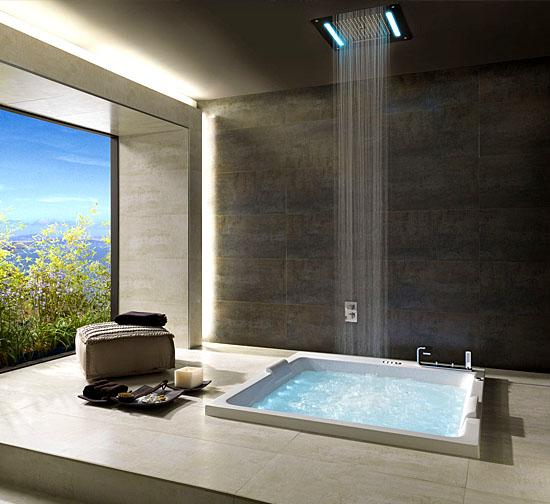 Casas fantásticas por dentro - Chuveiro Cachoeira com banheira