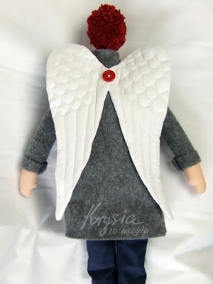 Krysia to uszyła - skrzydła anioła; szary anioł, tilda; rękodzieło artystyczne