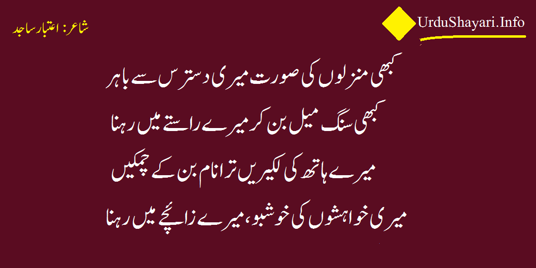 Urdu Shayari love - 4 lines romantic poetry by Aitbar sajid on khushboo manzil khawish