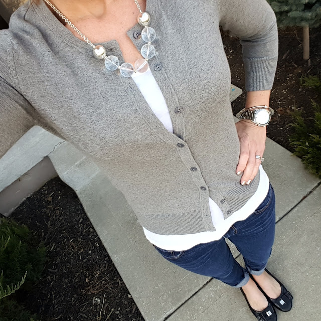 Merona Cardigan // American Eagle Tee (similar - only $4) // American Eagle Jeans (same in crops) // Franco Sarto Flats (similar) // Michael Kors Runway Watch // ILY Couture Knot Bracelet